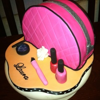 Make-Up Bag Cake A choclate and vanilla marble cake with chocolate fudge icing for my friend who is professional make-up artist