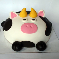 "Pig-Cow Cake This is an 8"" marble cake with chocolate buttercream and scratch fondant (the white at least). It started out as a cow, but after..."