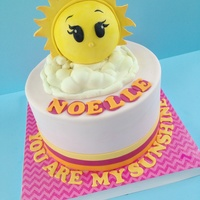 "You Are My Sunshine Birthday Theme The sun was created using half of a styrofoam circle which I glues to a 6"" cake card."