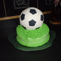 Soccer Ball cake was a lemmon bundt cake with lemon filling and iced with buttercream. Ball was made with RKT and covered in buttercream, then covered...
