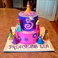 Disney Princess Birthday Cake  Princesses are plastic figurines. 2 layers are frosted with buttercream using Edna's video on how to frost layers of a cake. Fondant...