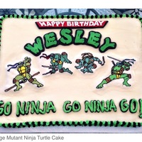 "Teenage Mutant Ninja Turtles (Tmnt) Turtles are frozen butter cream transfers. ""Happy Birthday"" and ""Wesley"" are fondant cutouts. Used font ""Chlorinar..."