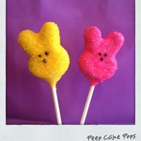 Peeps Cake Pops   Peep cake pops. Yes, these are cake! Chocolate cake pops dipped in colored whit chocolate and covered in colored sugar crystals,