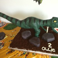 My Son Oliver's Dinosaur Cake The biggest cake I've done yet. 32 1/2inches long. 12 inches tall. Tail 17 inches tall.Dino is rice krispie covered in modeling...