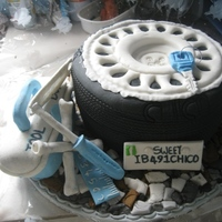 Car Tyre And Tools this cake i made for an engineer and i still think it is one of my best cakes ever. i used a 9 inches pan for the tyre, modelling paste for...