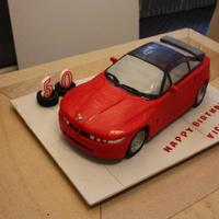 Alfa Romeo Sz Cake For My Husbands Birthday The Car Is A Chocolate Cake Covered In Fondant And The Wheels Were Made Of Fondantgumpaste T Alfa Romeo SZ cake for my husband's birthday. The car is a chocolate cake covered in fondant and the wheels were made of fondant/...