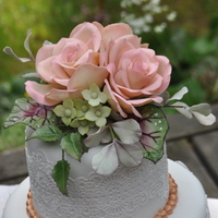 Small Wedding Cake With Roses Hydrangea Begonia Leaves And Eucalyptus   Small wedding cake with roses, hydrangea, begonia leaves and eucalyptus.