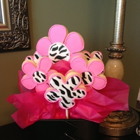 Zebra Print And Pink Cut Out Cookie Pops Zebra Print and Pink cut out cookie pops