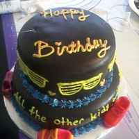18Th Birthday Cake Two tier cake, covered in black fondant, with buttercream decorations. The top tier was tie dye inside, and the bottom was colored zebra...