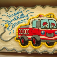 Firetruck Cake Firetruck pull apart cupcake cake! White cupcakes, with buttercream icing. Firetruck was my first FBCT.