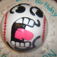 Baseball Birthday Cake Made this cake for 2 boys birthday. I had free range and went with a mix of 2 cakes I saw on CC. Used fondant for the baseball and butter...