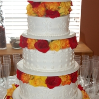 Fall Roses Wedding Cake