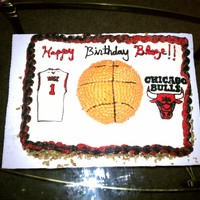 Chicago Bulls Red velvet cake 1/2 sheet cake- iced with cream cheese frosting. Buttercream transfer