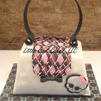 "Icing Smiles Monster High Purse  My first Icing Smiles ""fun"" cake! So blessed to be asked to make this cake! Fondant, argyle pattern. About killed me to put the..."