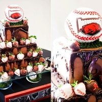 Arkansas Razorbacks Baseball Chocolate with dipped baseball strawberries. Baseball is rice krispie treats and fondant. Groom is a former Razorback player and glass...