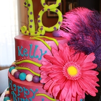 18Th Bday Buttercream cake with feathers and artificial flower