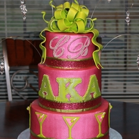 Alpha Kappa Alpha Birthday Cake Buttercream cake with gumpaste bow.