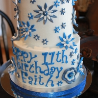 Blue Birthday Flowers Buttercream cake with fondant flowers