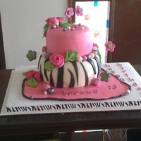 Pink And Zebra Stripe Cake