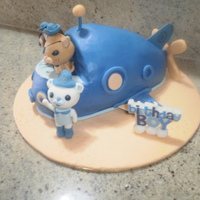 Octonauts Birthday Cake   Octonauts cake with submarine in blue fondant and fondant and modelling chocolate 3d characters