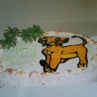 Lion King Cake   birthday cake for a friend's son...just learning to work with piping gel and transfers...=)