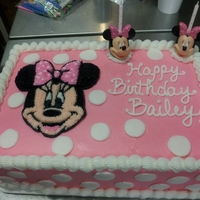 Minnie Mouse Quarter sheet double filled cake decorated with Mini Mouse