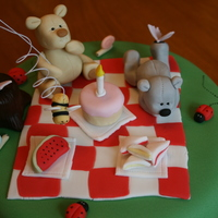 Teddy Bears Picnic Cake Vanilla cake with vanilla buttercream filling, covered in fondant. All decorations made of fondant.