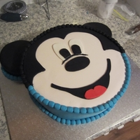 Mickey Mouse Birthday Cake My Nephew LOVES Mickey Mouse Clubhouse, so for his first birthday I made this mudcake covered with fondant and cutout fondant for the top...