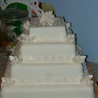 Multi Tiered Square Wedding Cake Art Deco Style