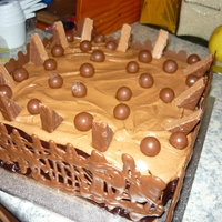 Chocoholics Cake Birthday cake made for my chocoholic Brother in law! It is dark mud, with whipped ganache, piped chocolate lattice, chopped mars bars,...