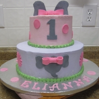 Elianna's 1St Birthday Cake I made this cake for a little girl that loves elephants. Buttercream with fondant accents. I made the elephant on the smash cake out of...