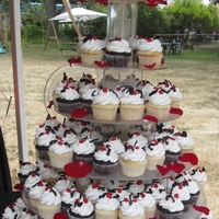 Red, White And Black Wedding These cupcakes were vanilla and chocolate. I made the decorations with black chocolate and spanish nuts. She left me roses to use on the...
