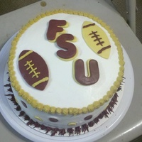 Fsu Birthday Cake Covered in BC, decorations in fondant. This was my first attempt at working with fondant for decorations