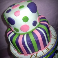 "Polka Dots & Stripes What a great way to celebrate womanhood with this two layer chocolate cake (6""x3"" and 4""x3"") covered and accented with..."