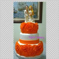 "3Tier Orange Rose Ruffle Wedding Cake 10 8 Amp 6 Tfl 3tier orange rose ruffle wedding cake. 10"", 8"" & 6"". TFL :)"