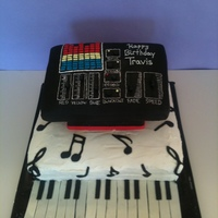 Music Cake Well let me start. Bottom cake was a white cake with raspberry filling and buttercream frosting. Middle was just a Styrofoam covered with...
