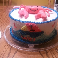 Crabby's Birthday Used butter cream for cake. Crab made out of marshmallow fondant.