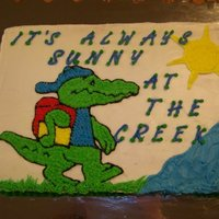 It's Always Sunny At The Creek Buttercream crocodile for the school I work at, Creekside