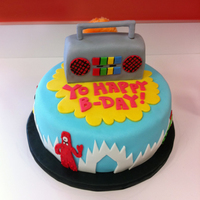 Yo Happy B-Day! Yo Gabba Gabba themed cake for a 2-year-old's birthday party.