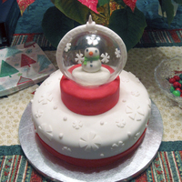 Let It Snow Snowglobe themed cake for a Christmas party. By Sarah. EatItCakes.blogspot.com