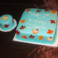 Fall Themed 1St Bday All frosting with fondant decor