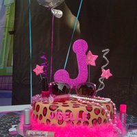 Fashionista Cake Cheetah was hand painted. All decor is non edible.