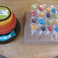 Fall Color Birthday Cake & Matching Pops Done in pulled-dot/petal style. Had to have something to work for a combined birthday for male and female friends, hence the fall colors....