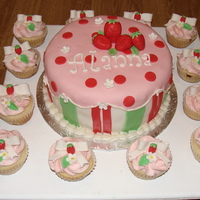 Strawberry Themed Birthday Cake And Cupcakes