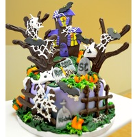 Spooky Halloween   Super fun Halloween cake! Had fun making it with my bestie Susan Carberry. Trees, fence and house are poured chocolate.