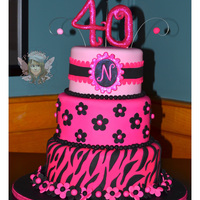40Th Birthday Cake 40th birthday cake. Wish I had a brighter pic of this but the venue was really dark. Fondant & Modeling Choco