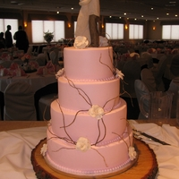 Lovely Pink Wedding Cake With Rustic Accents Buttercream iced with bride's flowers and curly willow accents.
