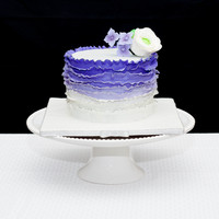 Ruffles Wedding Cake Ombre Purple With Silver Trim Ruffles wedding cake. Ombre purple with Silver trim.