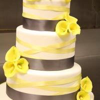 Calla Lily Wedding Cake In Grey And Yellow My first time making sugar flowers