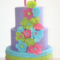 Colorful 17Th Birthday Cake Sweet 17 cake. Made in 2 days notice. Design was my choice. They just wanted lots of flowers. I wish i had more time to dry the flowers.